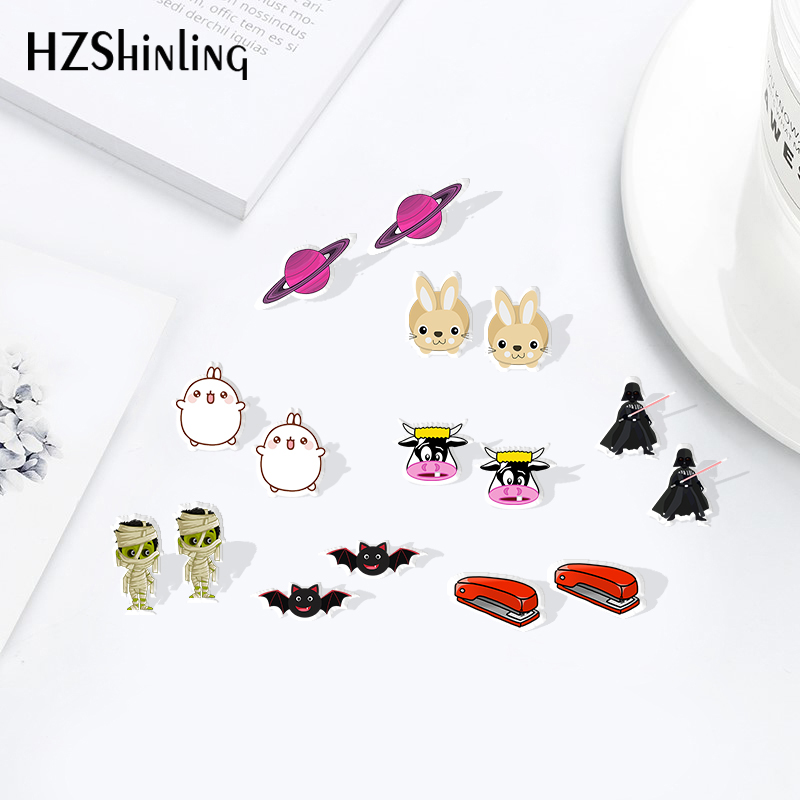 HZSHINLING New Arrival Cartoon Cute Resin Earrings Shrinky Dinks Earrings Sweet Accessories Acrylic Earrings Epoxy