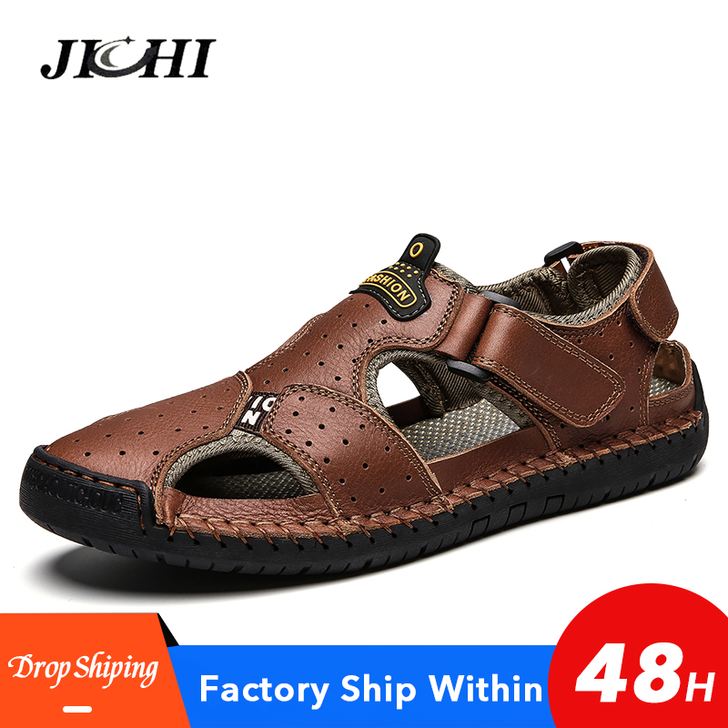 2020 Fashion Velcro Sandals Men Walking Plus Size Buckle Sandals Lightweight Hollow Out Mens Sandals Summer New Casual Black