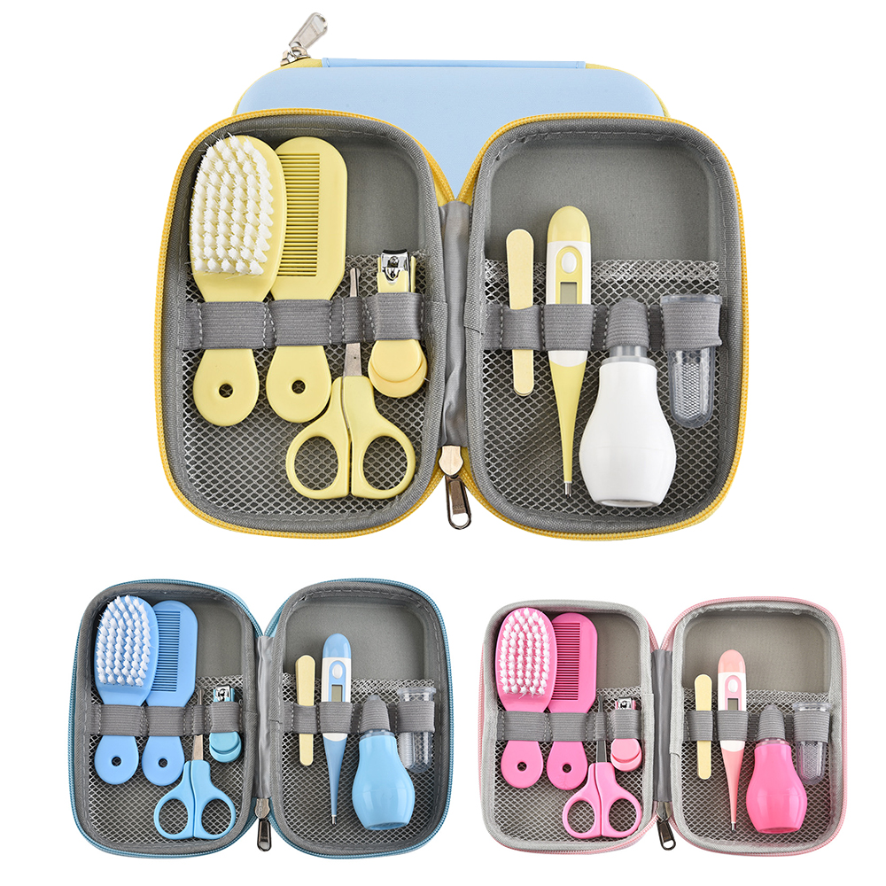 8pcs/Set Multifunction Newborn Baby Kids Nail Health Care Thermometer Grooming Brush Kit Healthcare Accessories Toiletries Set