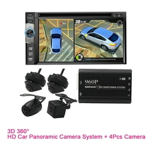 Sistema panorâmico sem emenda do estacionamento da vista do pássaro do carro dvr de Novel-3D 360 ° 960p hd com 4 câmeras dos pces