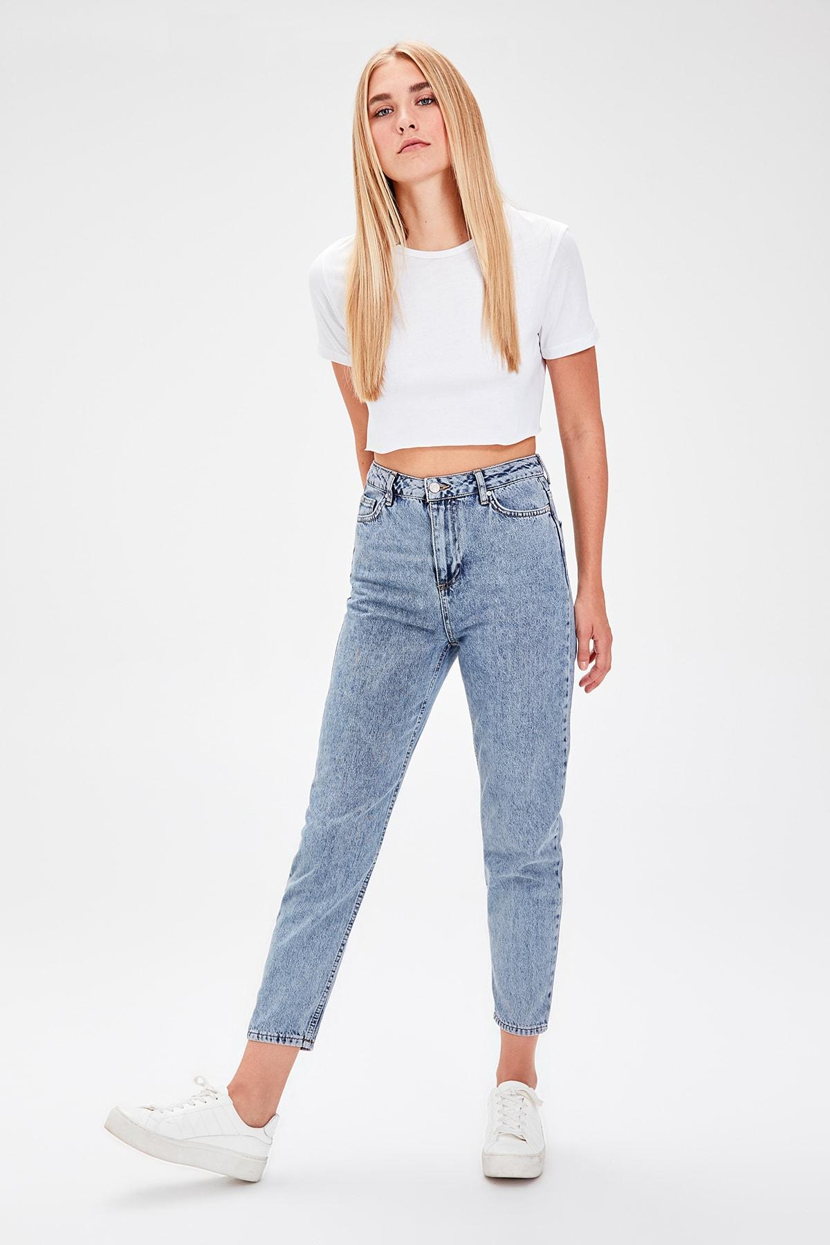 Trendyol Blue High Waist Mom Jeans TWOAW20JE0056
