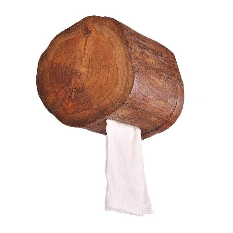 HTHL-Vintage Wooden Paper Tube Home Hotel Room Tissue Box Bathroom Roll Holder Bathroom Kitchen Paper Holder