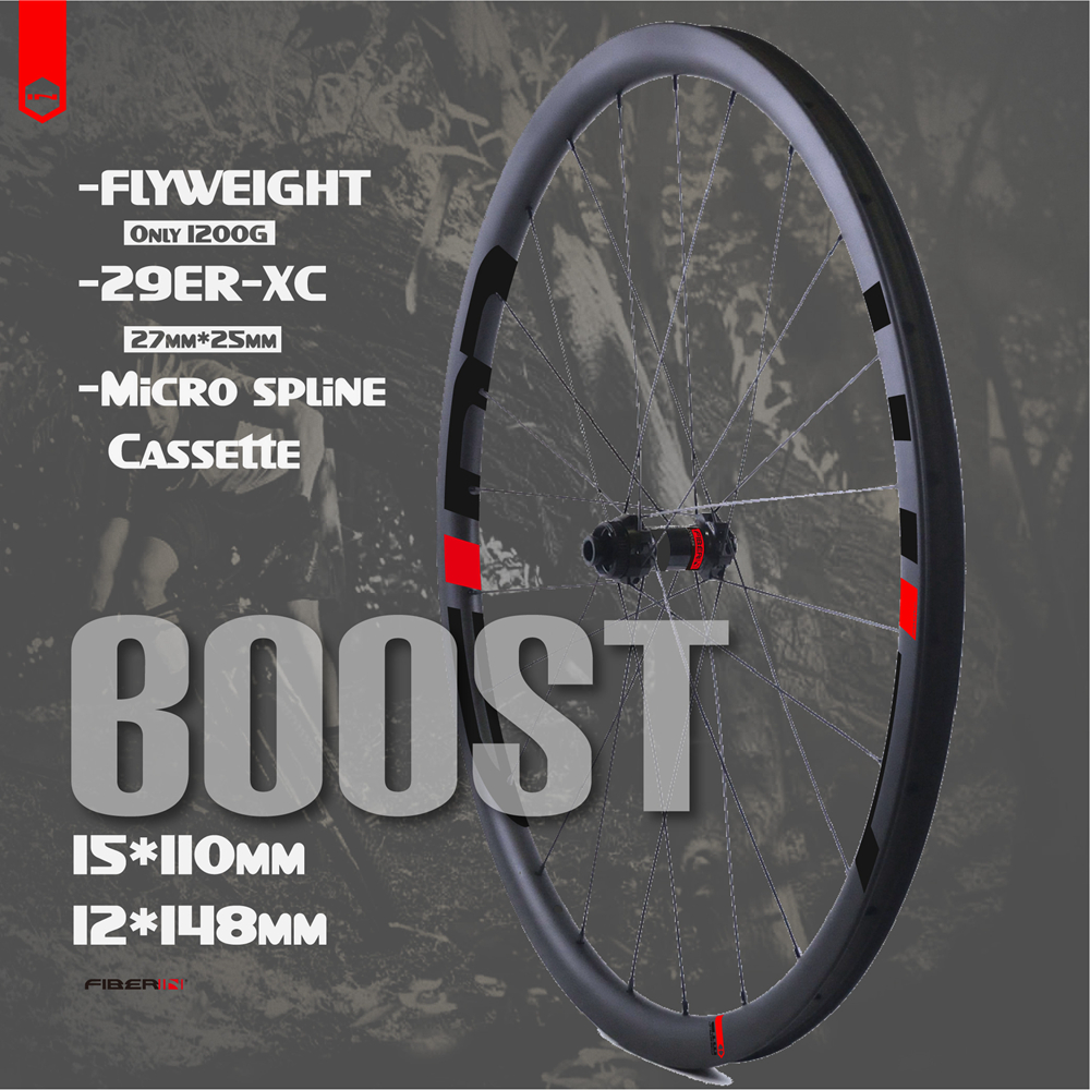 Flyweight mtb rodado 29er 15*110 12*148 mountain bike 27 30mm xc largura de carbono hookless boost wheels