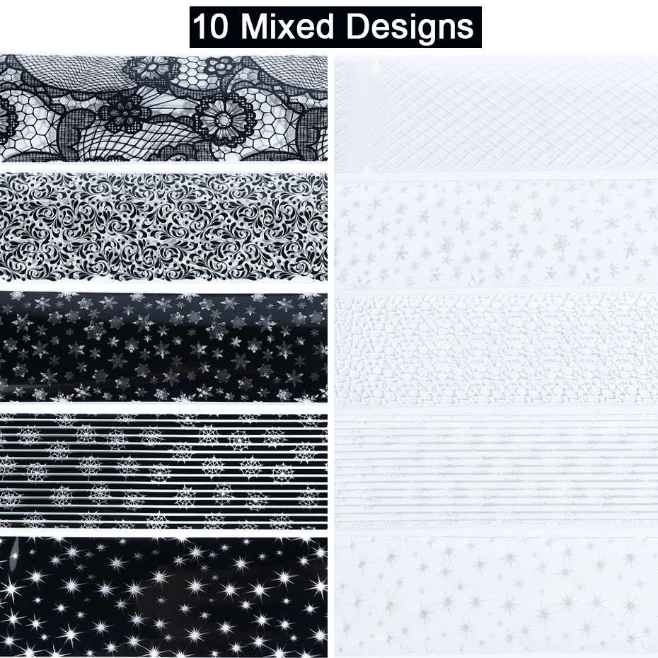 Image 3 - 10 Roll Black White Lace Nail Foil Christmas Snow Star Flowers Nail Sticker Flakes UV Gel Polish Transfer Xmas Decal JIXKH40 59-in Stickers & Decals from Beauty & Health