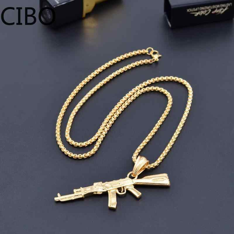 Neuheit Counter Strike AK47 männer Gun Anhänger Halskette Vintage Gold Gothic UZI-gewehr-form Halskette Männer Schmuck collares Geschenk