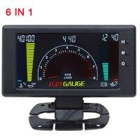 speedometer car tacometro digital car tachometer rpm inter 6 in 1 Auto Gauge Volts Meter Oil Pressure Meter Voltmeter Water temp
