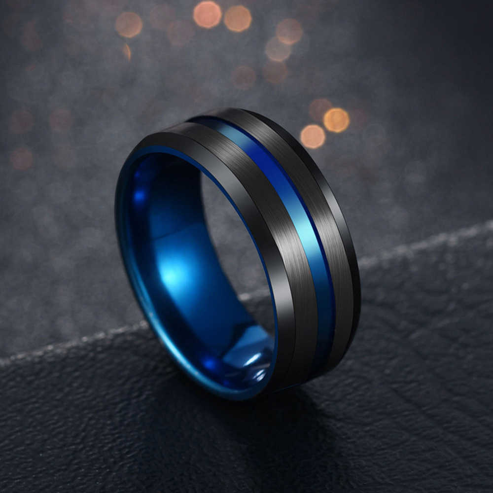 FUNIQUE 8mm Rings Black Blue 2019 Fashion Groove Punk Stainless Steel Rings For Men Women Charm Male Jewelry Wedding Party Gift