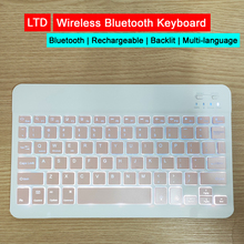 Draadloze Bluetooth Toetsenbord 7 Kleur Backlight Russisch Arabisch Thai Hebreeuws Spaans Frans Italiaans Koreaanse Duitse Turkse Keyboard