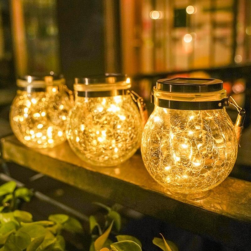 Открытый светодиодный садовый светильник на солнечной батарее мяч Стекло банку трещины подвесной светильник балкон макет Декор Новогодне...