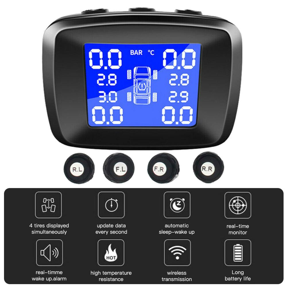 New Smart Car TPMS Car Tire Pressure Monitoring System Internal 4 External Sensor Solar Wireless Alarm Systems Tyre Pressure