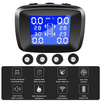 цена на New Smart Car TPMS Car Tire Pressure Monitoring System Internal 4 External Sensor Solar Wireless Alarm Systems Tyre Pressure