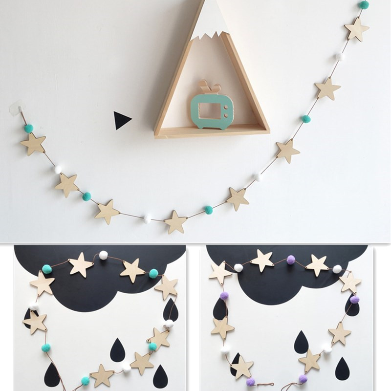 Ins Hot Nodic Star String Ornaments Newborn Baby In The Crib Infant Room Wall Decor Photography Props Baby Bedroom Decor