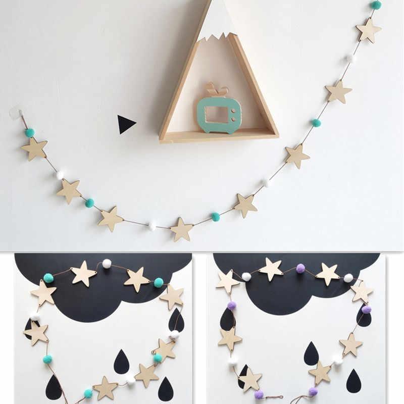 Ins Hot Nodic estrella String ornamentos bebé recién nacido en la cuna infantil Pared de habitación Decoración Accesorios de fotografía bebé dormitorio Decoración