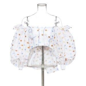 DEAT 2020 neue frühling und sommer puff ärmeln polka dots gedruckte kurze hohe taille dobby stoff riemen bogen shirt WM29100L