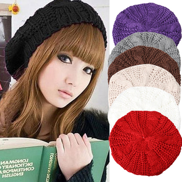 Warm Winter Women Beret Knitted Baggy Beanie Hat Multicolor Ski Cap  H66