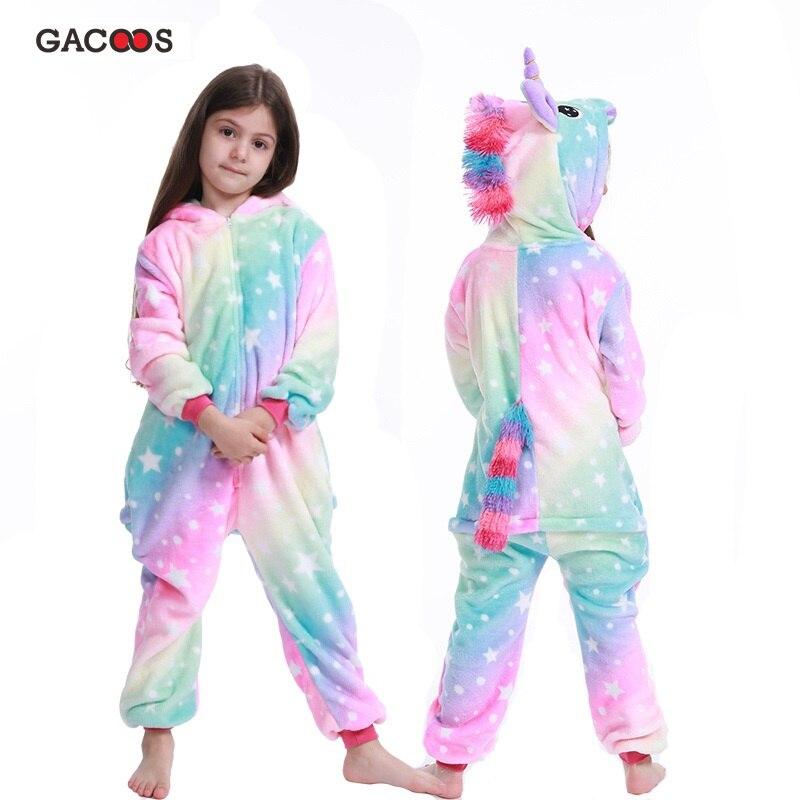 Boys Girls Star Unicorn Pajamas Animal Kegurumi For Children Flannel Jumpsuit Winter Licorne Overalls Panda Pyjamas Kids Onesies