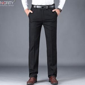 Image 1 - NIGRITY 2019 סתיו חורף גברים של חליפת מכנסיים ישר מכנסיים באיכות גבוהה אופנה גברים קלאסי עסקי שמלת צפצף 3 צבעים