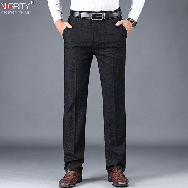 NIGRITY 2019 סתיו חורף גברים של חליפת מכנסיים ישר מכנסיים באיכות גבוהה אופנה גברים קלאסי עסקי שמלת צפצף 3 צבעים