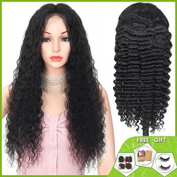 deep wave 13x4 lace front wig Brazilian short lace front Human Hair Wigs for women bob lace front wig non-remy 150% Density alidoremi brazilian deep wave 13x4 lace front wig 100