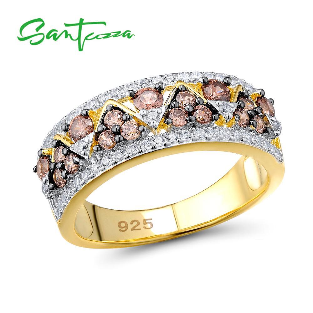 SANTUZZA argent anneaux pour femme étincelant luxe chocolat cubique zircone bague femme 925 en argent Sterling anneaux Fine bijoux