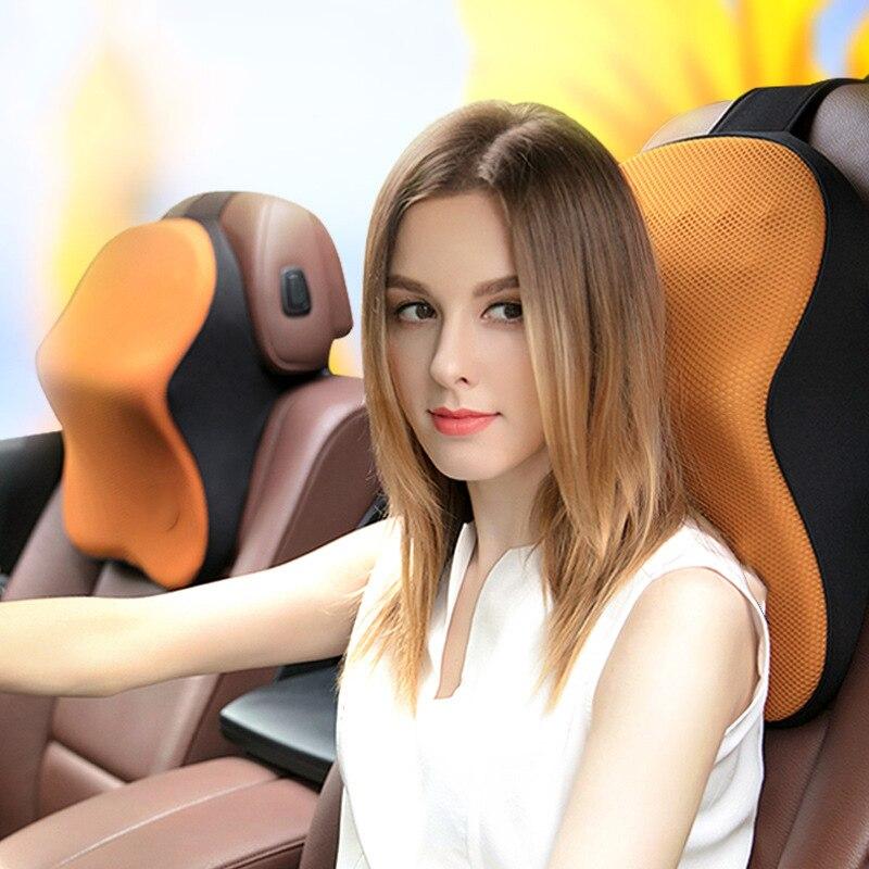 Assento de carro cabeça pescoço resto massagem travesseiro automóvel respirável tecido + memória esponja encosto cabeça veicular verão travesseiro assento cabeceira
