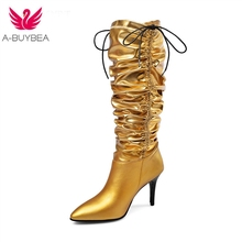 New European and American Golden Plating and Sleeve Walking Show Brand Mid-barrel Boots Fashion Women's Boot Lace-Up Shoes цена