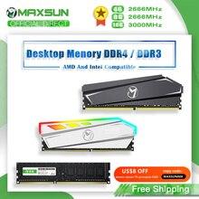 MAXSUN RAM DDR4 4GB 8GB 16GB Memory DDR3 1600 2666 3200MHz Memoria Rams Dimm DDR4 RGB Lighting Desktop Memory with Heat Sink