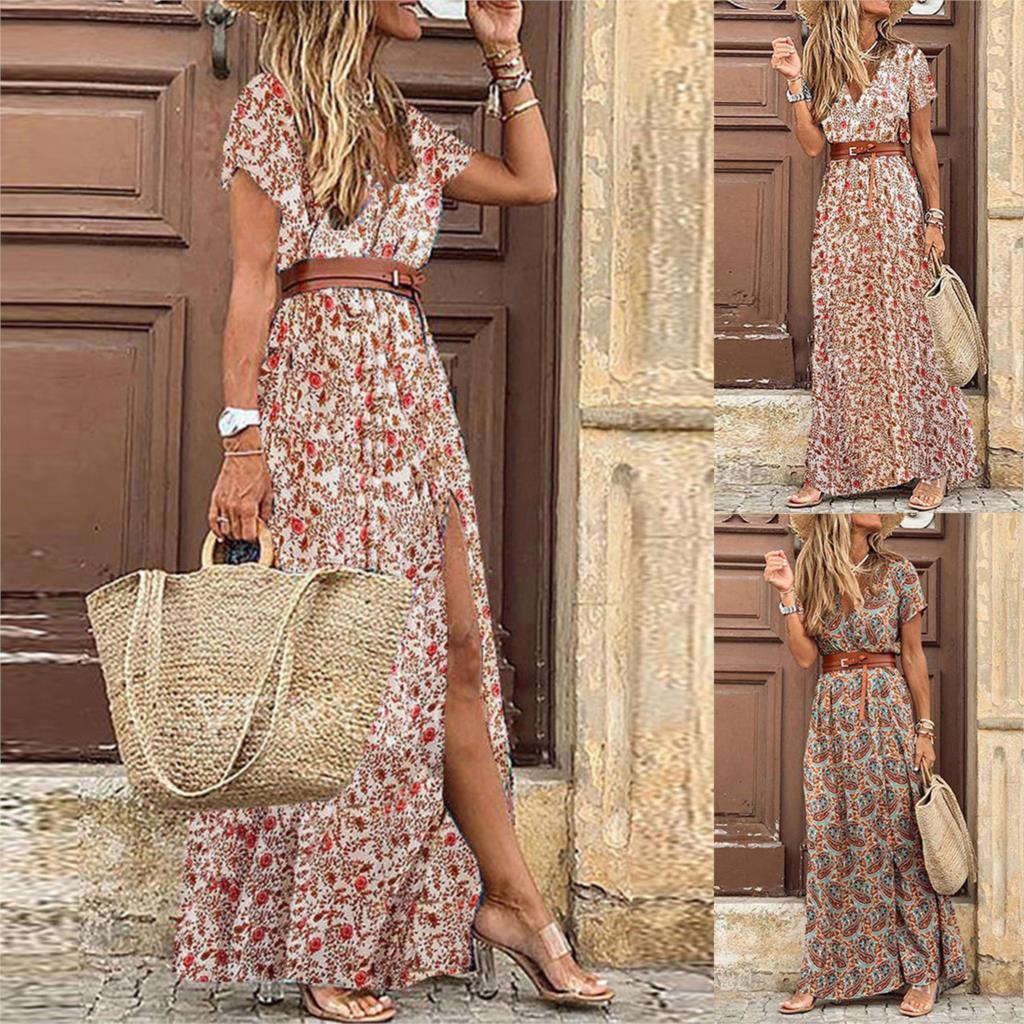 2020 Summer Beach Maxi Dress Women Floral Print Boho Long Dress Casual V-Neck Split Sexy Party Dress Robe Femme