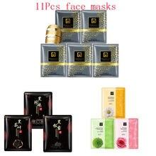 11Pcs mixed 24K Gold mask plant rose detox tea Collagen Face Mask Moisturizing Anti-Aging black Facial Masks korean skin care