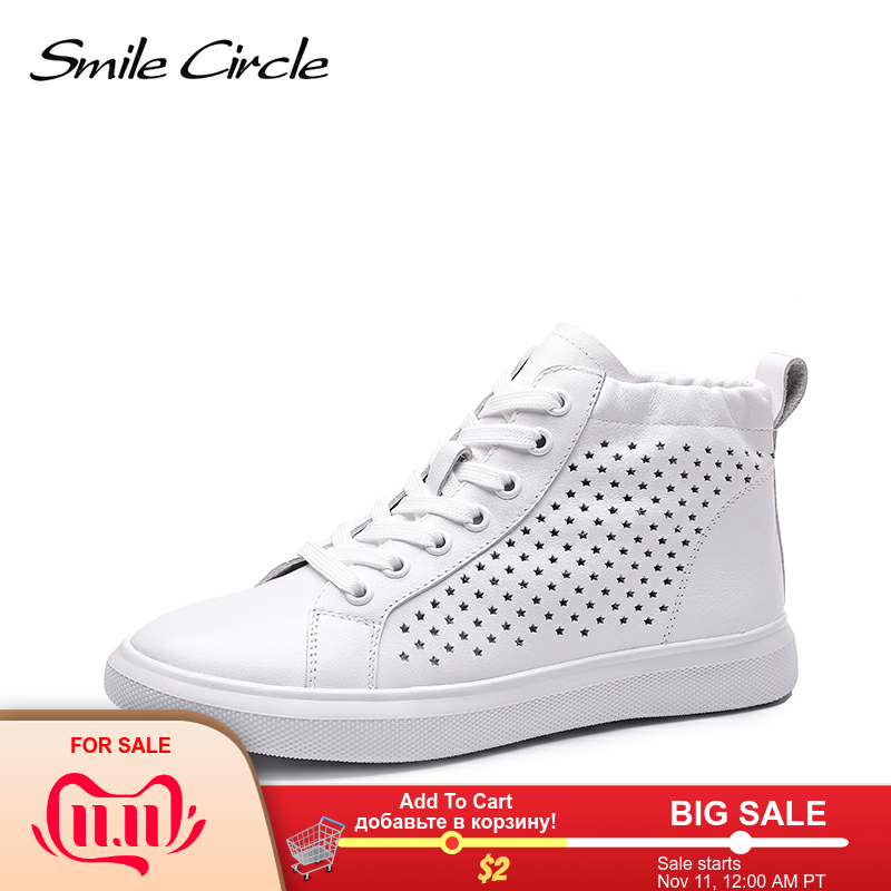 Smile Circle 2019 Spring Women Sneakers Flat Genuine Leather Fashion High-top White Shoes Breathable Ladies Casual Shoes
