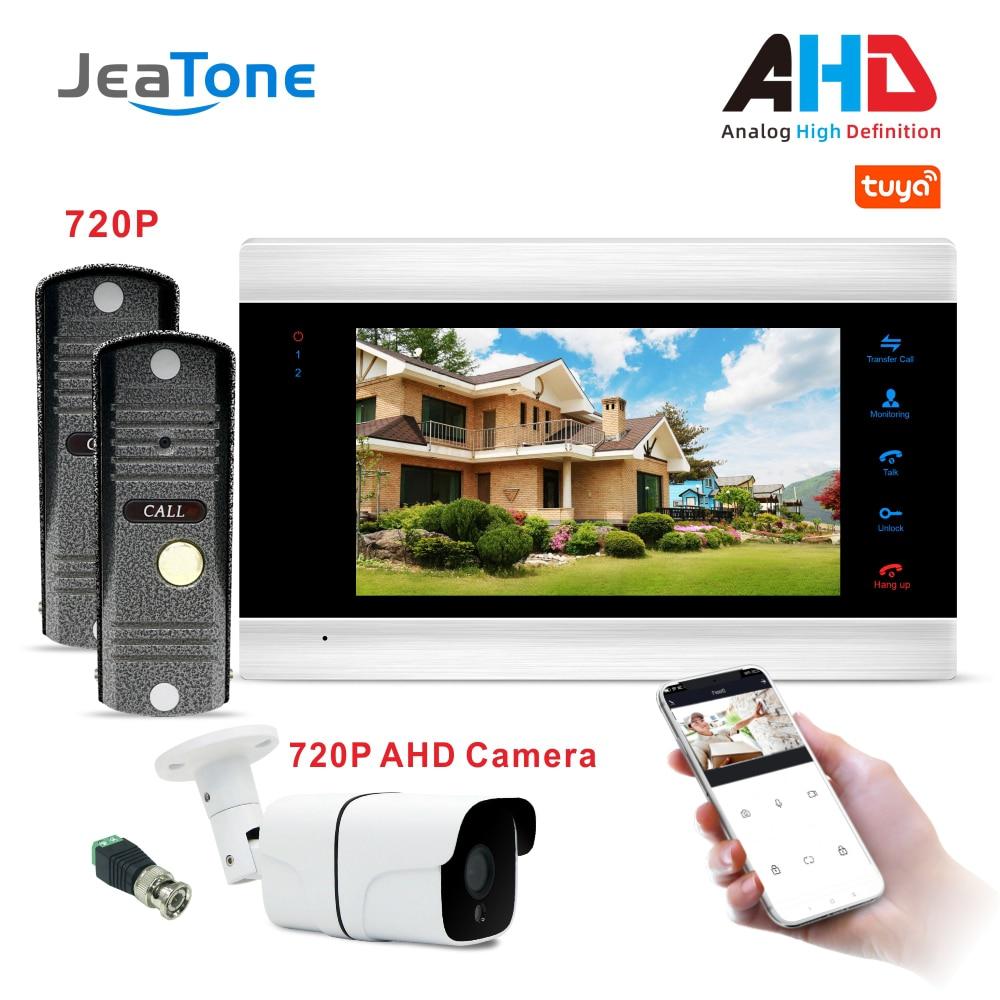 WiFi Video Doorphone Intercom System 7 Inch Monitor With HD Doorbell Tuya Smart App Remote Unlock Security Access Control System