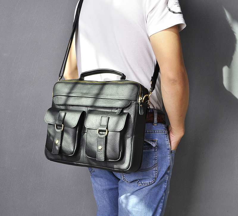 """H6ba107d438e44530851eedf1703080c2r Le'aokuu Men Real Leather Antique Style Coffee Briefcase Business 13"""" Laptop Cases Attache Messenger Bags Portfolio B207-d"""