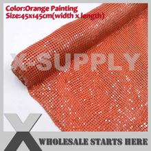 Orange Painting Aluminum Fabric Mesh Without Iron On Glue For Clothes,Bra,DIY Skirt,Easy for Cutting(China)