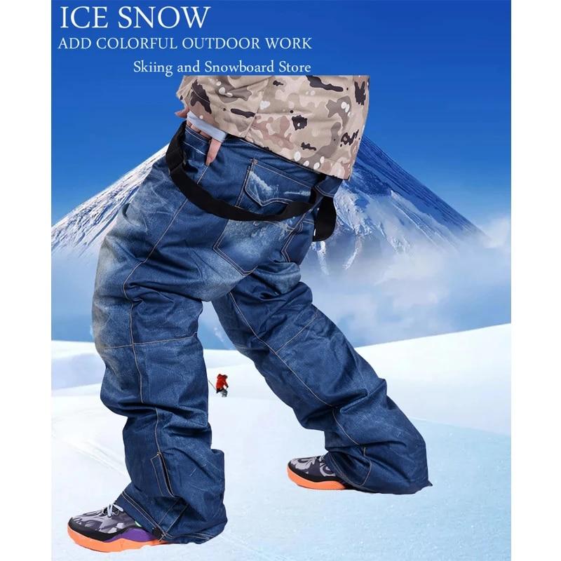 Pantalones De Nieve De Vaquero Para Hombre Pantalones De Snowboard Impermeables Con Correa De Esquí Cinturón Para Deportes Al Aire Libre Para Invierno 30 Pantalones De Esquí Aliexpress