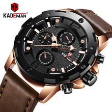 купить KADEMAN Men's Sports Watch Waterproof Quartz Watches Top Brand Luxury Fashion Military Leather Wristwatch Relogio Masculino по цене 1385.99 рублей