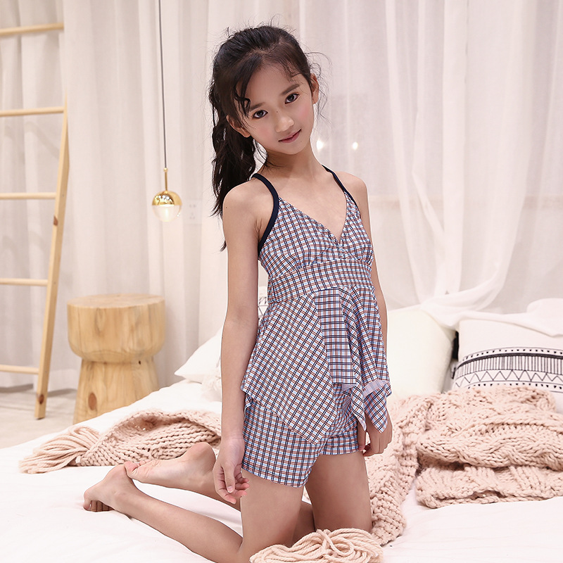 2019 Korean-style New Style CHILDREN'S Swimwear Split Two-Piece Set Girls Swimwear Camisole Hipster Swimwear