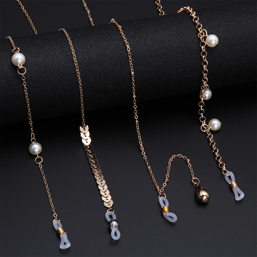 1Pcs Elegant Pearls Sunglasses Chains Fashion Gold Color Eyeglasses Lanyard Glasses Holder Necklace Eyewear Retainer Accessories