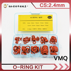 Thickness 2.4mm Red Ring Silicone O Ring Seal Silicon Sealing O-rings VMQ Washer oring set Assortment Kit Set O Ring