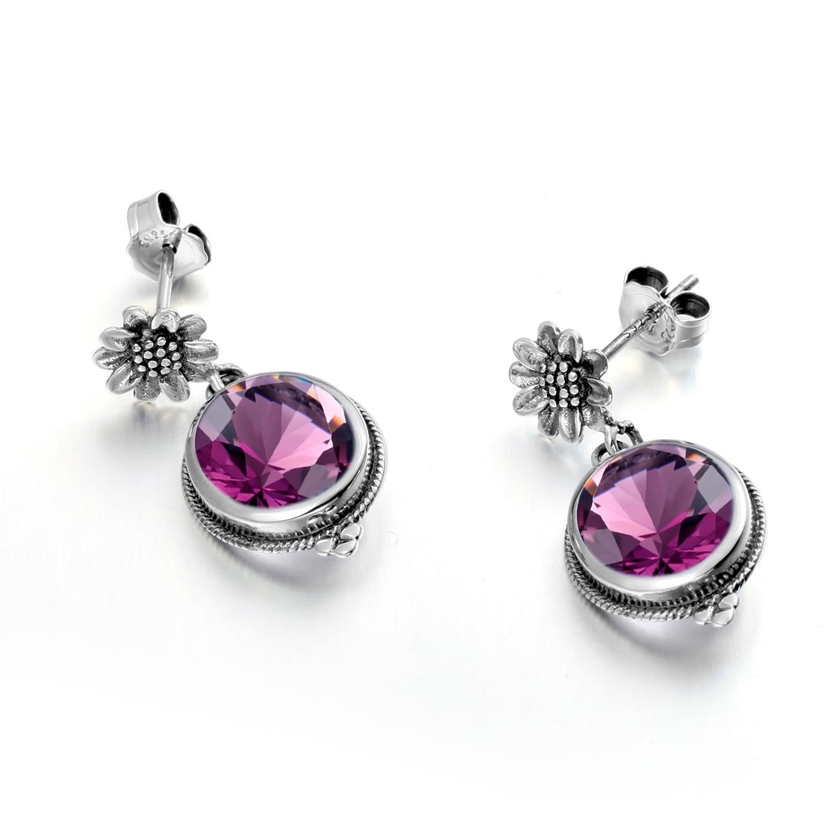 925 Original Sterling Silver Earrings Purple Amethyst Vintage Flower Pattern Luxury Bands Fine Jewelry For Women Accessories