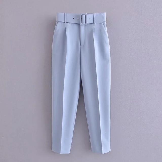 Za Women's Pants Suit Office Blazer Solid Jackets Elegant Coat Female 2 Piece Set 2021 Slim Outfit With Belt High Waist Trousers 5