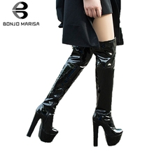 BONJOMARISA 33-43 Sexy 17 Cm High Heels Over The Knee Boots Ladies Platform Thigh High Boots Women 2020 Winter Fur Shoes Woman shoes women boots thigh high boots over the knee boots platform thick high heels boots ladies shoes black brown big size 42 43