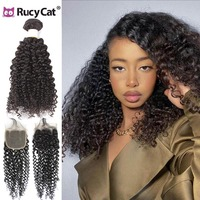Rucycat Indian Human Weave Bundles Kinky Curly bundles with closure Human Hair Weave Bundles 30 inch Long Hair Extensions