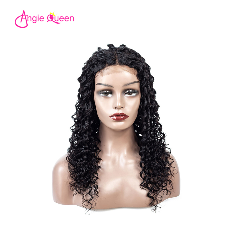 ANGIE QUEEN Lace Closure Human Hair Wigs 4x4 Closure Lace Wig Peruvian Hair Deep Wave Lace Closure Wigs Remy Hair Wigs