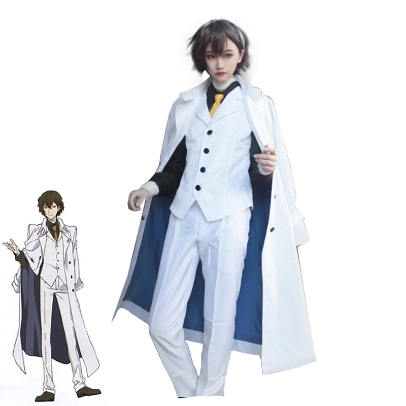 Anime Bungo Stray Dogs: DEAD APPLE Dazai Osamu Cosplay Costume Adult White Trench Pants Suit Halloween Carnival Uniforms