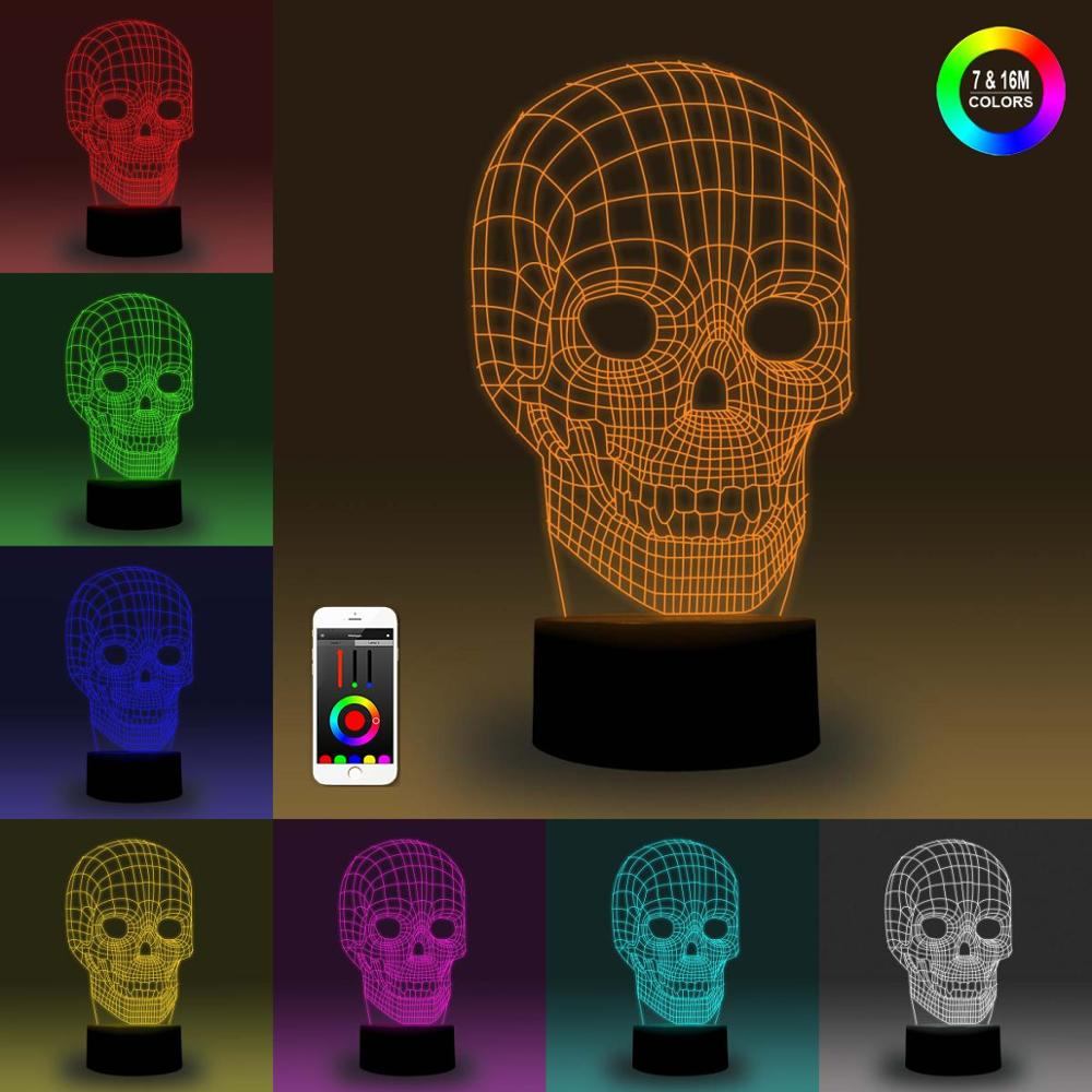 NiteApps 3D Skull Night Light Desk Table Illusion Lamp Holiday Birthday Gift APP/Touch Control