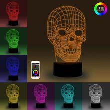 цена на NiteApps 3D Skull Night Light Desk Table Illusion Lamp Holiday Birthday Gift APP/Touch Control