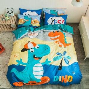 Image 4 - التوأم الملكة حجم 4 قطعة يونيكورن ديناصور حاف الغطاء غطاء سرير 100% القطن لينة تنفس دائم طقم سرير للأولاد الأطفال