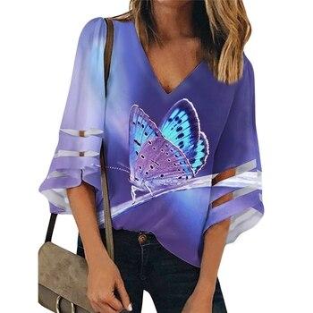 Purple Blouse And Top Women Butterfly Print Elegant Large Size Chiffon Blouses Loose V-neck Clothes Bluzki Damskie Zanzea butterfly print v neck asymmetric slip top