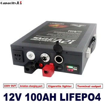 12v 100ah lifepo4 Lithium iron 12.8v 70ah Rechargeable Battery pack with BMS and Cigarette lighter for RV Camping AC300W Ups image