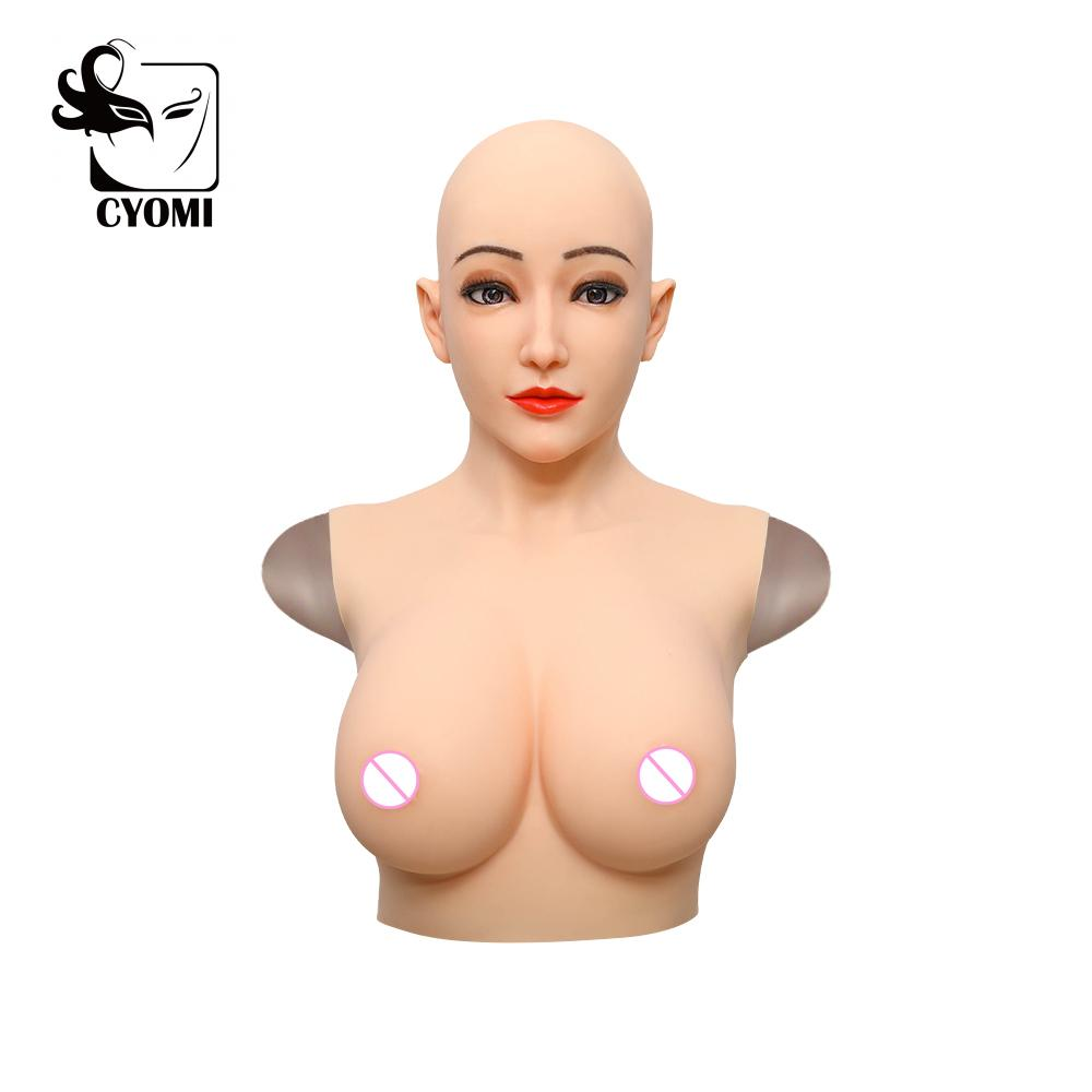 CYOMI Alice Style Angel face mask Silicone breast fake boobs Cosplay costumes Stage props For Drag Queen Transgender shemale